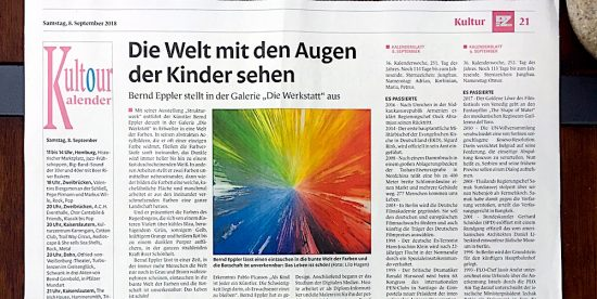 Bernd Eppler, abstrakte Kunst, Pirmasenser Zeitung, PZ, Kunstausstellung, Vernissage, Acrylmalerei