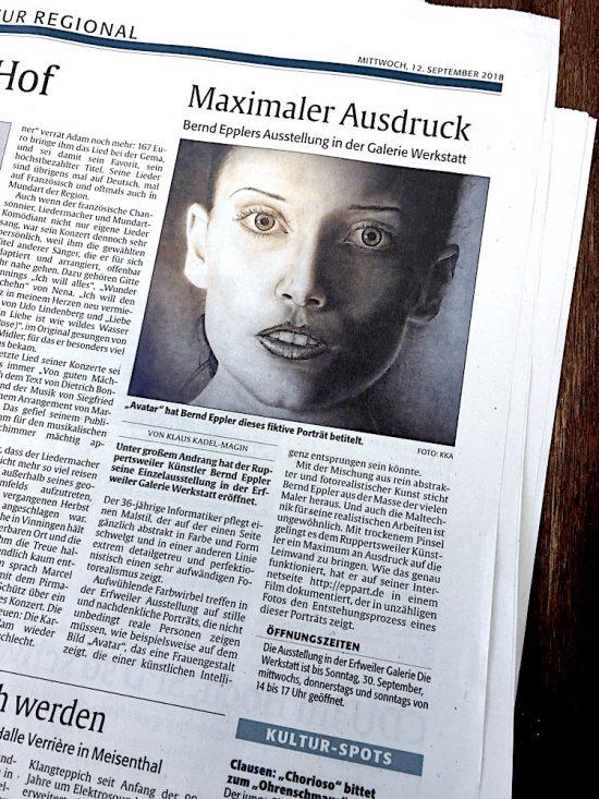 Kunstausstellung Bernd Eppler, Erfweiler, abstrakte Kunst, Avatar, Ölmalerei, Acrylmalerei, Vernissage, Dry-Brush, Fotorealismus